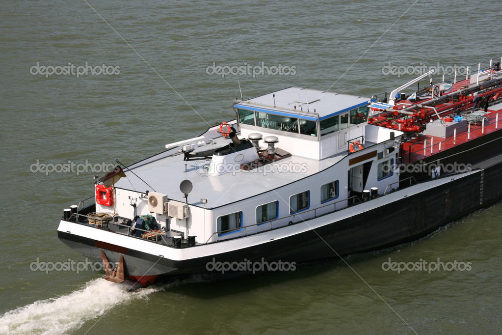 Tanker barge on Rhine river, Germany. Fuel transportation. — Stock Photo #4479489