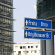Stock Photo: Prague and Brno sign