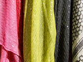 Colorful textile - cloth scarves — Stock Photo