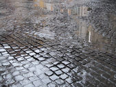 Wet cobbled street in Rome — Stock Photo