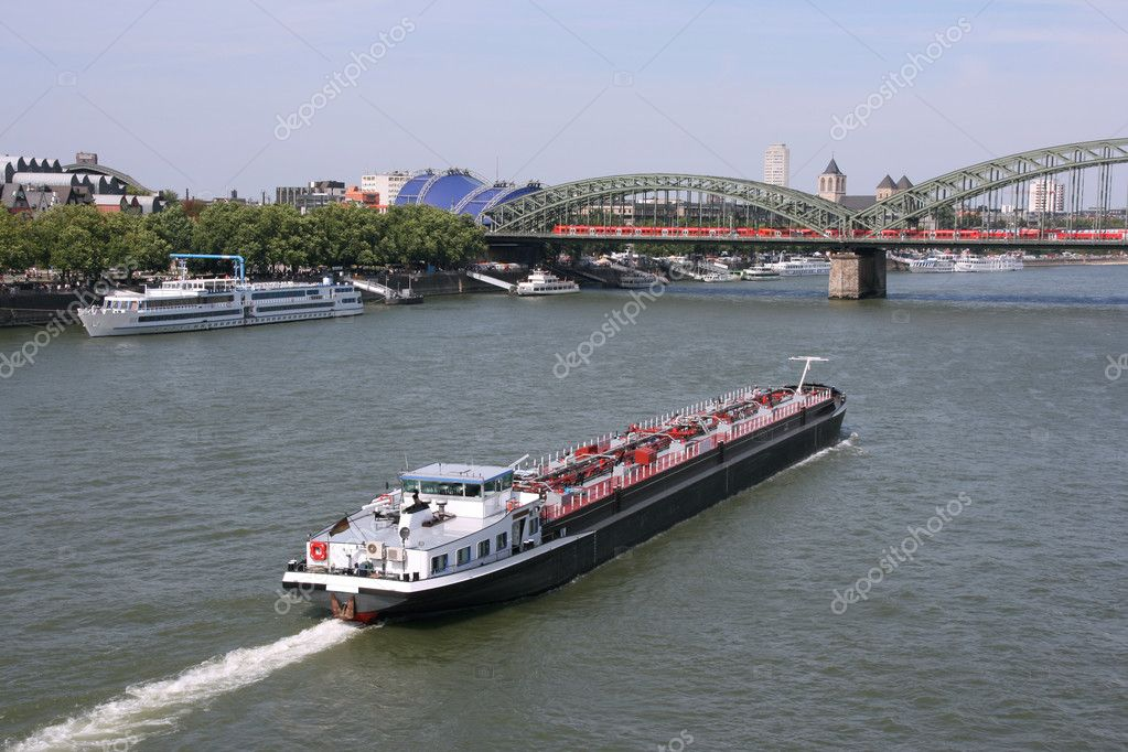 Tanker barge on Rhine river, Cologne, Germany. Fuel transportation. — Stock Photo #4493232