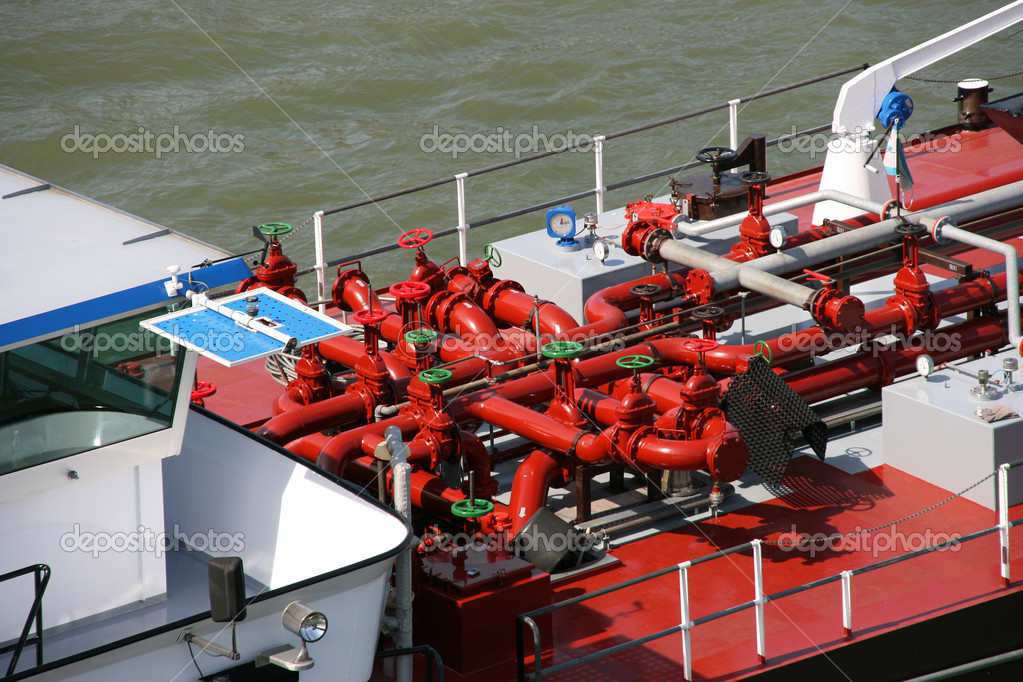 Tanker barge on Rhine river, Germany. Fuel transportation. — Stockfoto #4493820