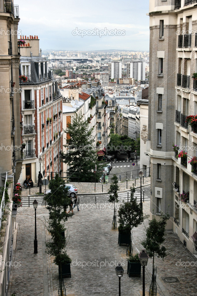 Montmartre hill in Paris, France. Typical old town view.  Stock Photo #4495573