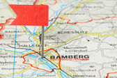 Strasbourg - city in Germany. Red flag pin on an old map showing travel destination. — Stock Photo