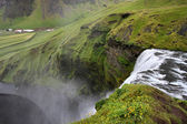 Skogafoss - famous waterfall near Skogar in Iceland. View from above. — Stock Photo