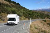 Motorhome in Canterbury region, New Zealand. Recreational vehicle, slightly motion blurred. — Stock Photo