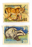 Vintage collectible postage stamps — 图库照片