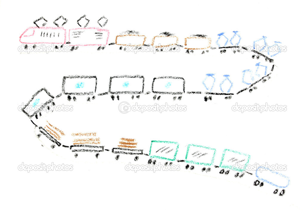 Child drawing of a long cargo train made with wax crayons — Foto Stock #4520020