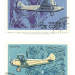 Old Russian airplanes on stamps - Stock Photo