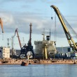 Стоковое фото: Busy cargo harbor infrastructure