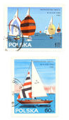Sailing - old postage stamps — Stock Photo