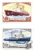 Old post stamps with ships — Stock Photo