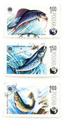 Post stamps with angling and fish — Stock Photo