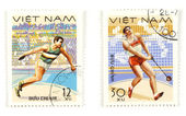 Sports and athletics on post stamps — Stock Photo