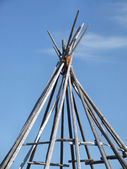 Wooden wigwam tepee frame — Stock Photo