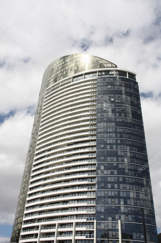 Modern mixed use skyscraper - apartment and office building in Melbourne, Victoria, Australia.  Stock Photo #4538780