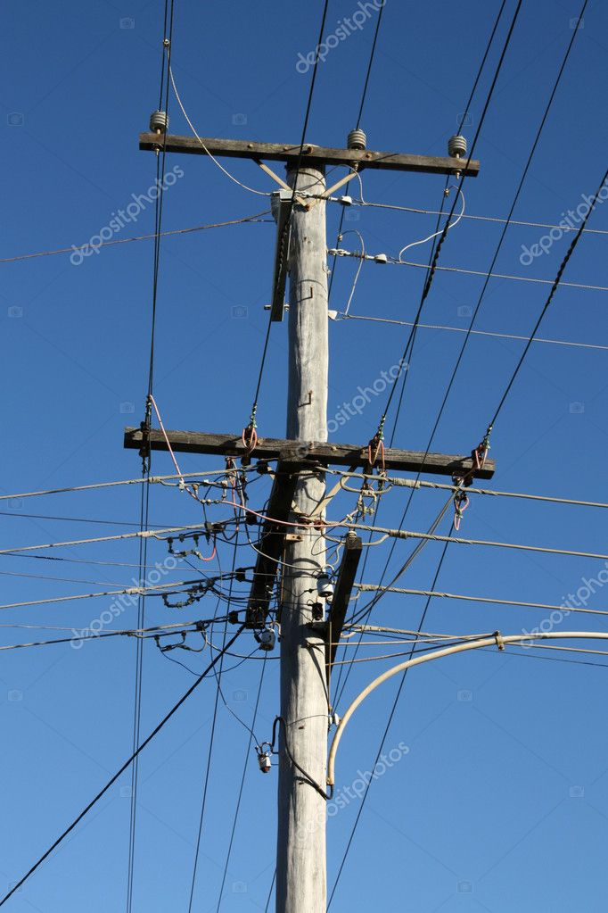 Old wooden electric wires pylon in Queensland, Australia — Stock Photo #4538824