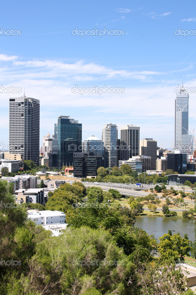 Perth skyline from Kings Park. Australian city view. — Stock Photo #4539120