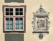 Unique window and decorative emblem — Stock Photo