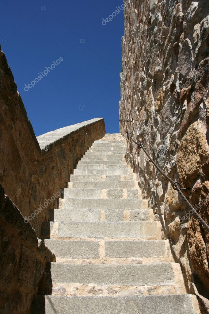 Stairway to Heaven. Stairs to the city walls of Avila, Spain.  Stock Photo #4544190