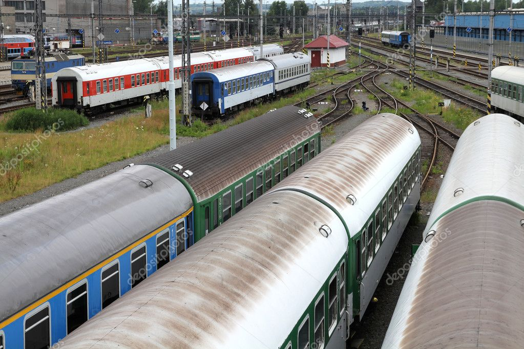 Railway station - multiple passenger train coaches at a junction in Bohumin, Czech Republic — Stock Photo #4557371