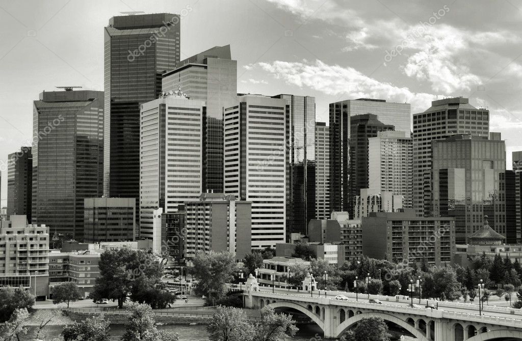 Calgary downtown. Multitude of skyscrapers and modern office building in the biggest city of Alberta, Canada. — Stock Photo #4612657