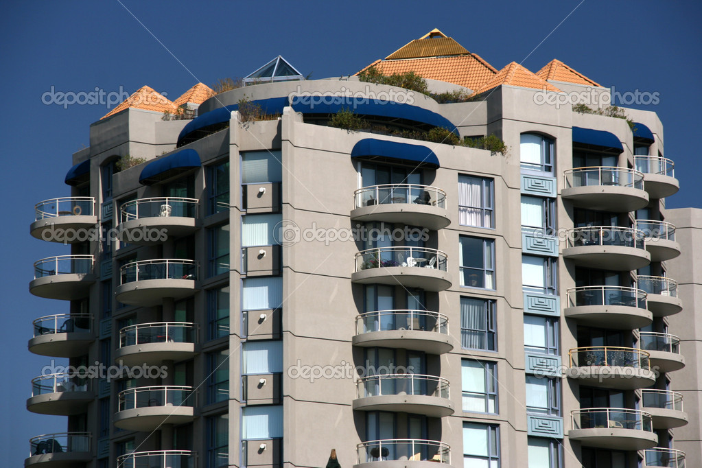 Close up of a modern apartment building in Calgary, Alberta, Canada — Stock Photo #4612807