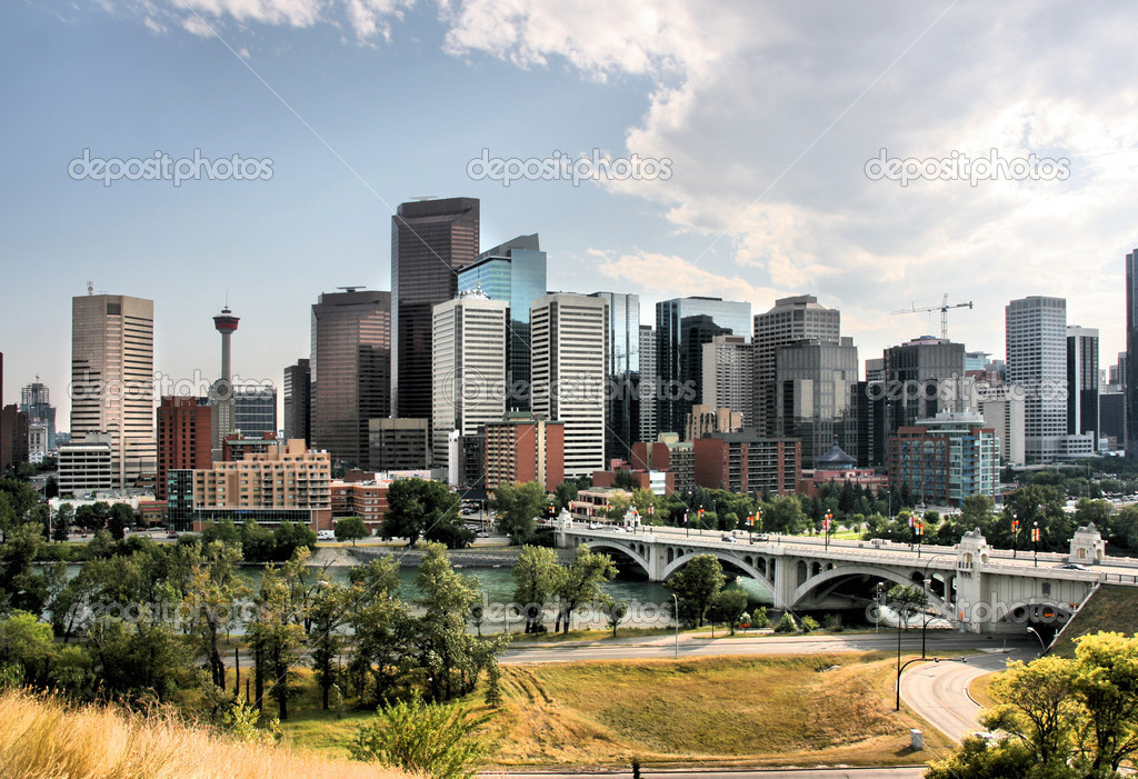 Skyline of Calgary, city in Alberta, Canada. HDR photo. — Stock Photo #4612910