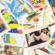 Post stamps collection - Stock Photo