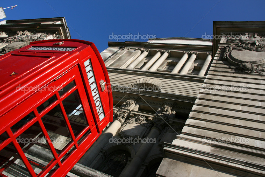 Typical London phone booth in abstract view - symbol of Great Britain.  Stock Photo #4659966