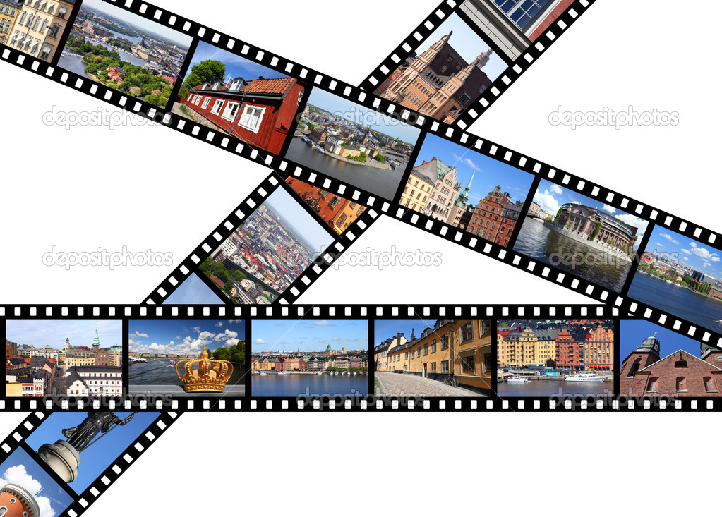 Illustration - film strips with travel memories. Stockholm, Sweden. All photos taken by me, available also separately. — Stock Photo #4782575