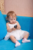 The babe with phone — Stock Photo