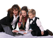 The business woman and her children — Stock Photo