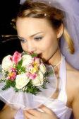 The is gentle-romantic bride — Stock Photo