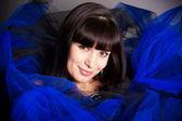 The brunette in dark blue — Stock Photo