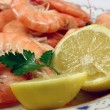 Prawns and lemon — Stock Photo