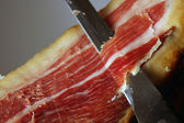 Court of a typical Jamon Iberico ham from Spain — Stockfoto
