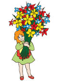 Smiling little girl holding huge bouquet of flowers — Stock Vector