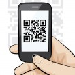 Mobile phone in male hand scanning qr code — Векторная иллюстрация