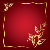 Frame of golden flowers on a red background — Stock Vector