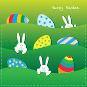 Easter card with funny bunnies and eggs — Stock Vector