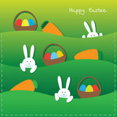 Easter bunnies, eggs, baskets and carrot — Stock Vector