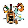 Stock Vector: Bottle of Rum and pirate Sabres