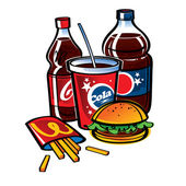 Fast food - Cola and fries with hamburger — Stock Vector