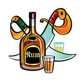Bottle of Rum and pirate Sabres — Stock Vector