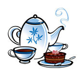 Tea pot with cup and cake — Stock Vector