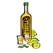 Bottle of mexican drink Tequila with lemons and caterpillar — Stock Vector