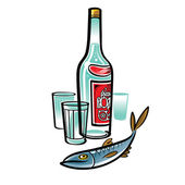Bottle of Vodka and fish herring — Stock Vector