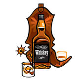 Whiskey bottle and western Cowboy boot — Stock Vector