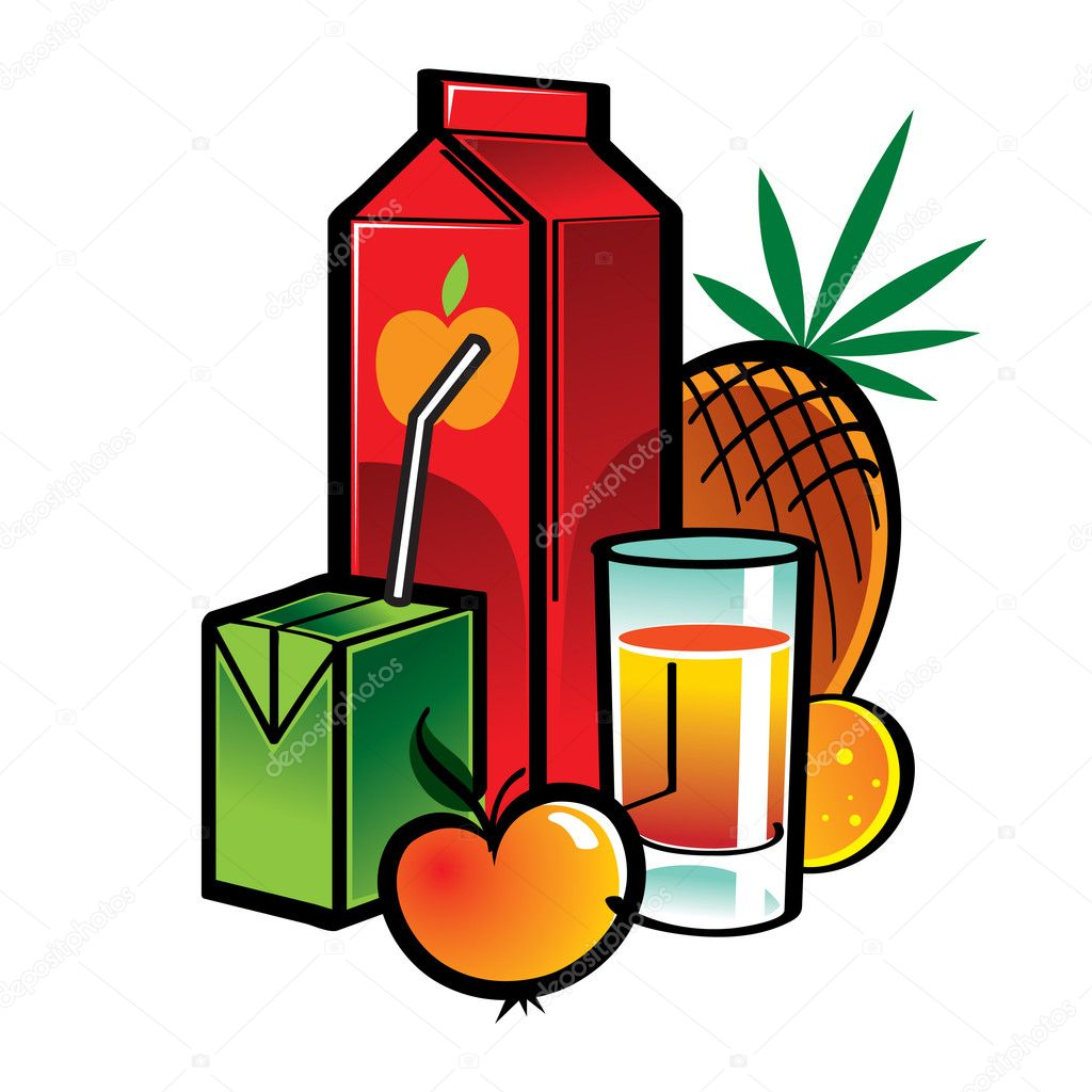 Juice Box Cartoon Juice Boxes With Fruits And